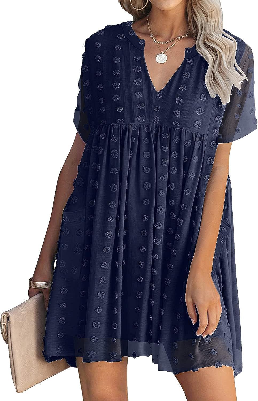 MIHOLL Women's V Neck Short Sleeve Ruffle Loose Summer Flowy Mini Dress