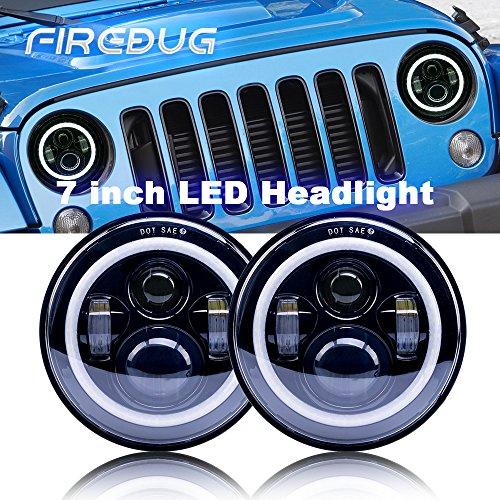 "Firebug 7"" Round Halo Headlights Led Headlights with White Angle Eye DRL Amber Turn Signal 80W, LED Halo Headlights for Wrangler JK TJ LJ 1997-2016 Sport Sahara Rubicon -  Firebug Auto Parts, JK-HL-005"