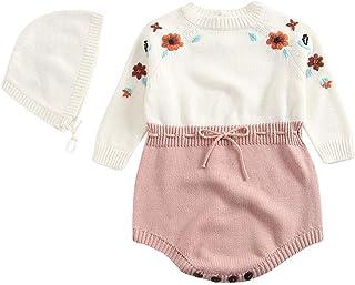 Stirnband Outfits Set Neugeborenes Bekleidungssets Blumendruck Hosen Plot 0-24 Monate Neugeborenes Baby M/ädchen Set Kleidung Langarm Stricken Romper Overalls