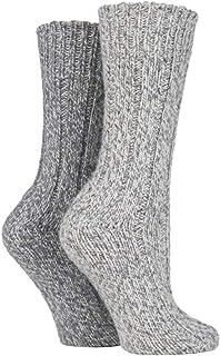 2 Pares Hombre y Mujer Gris Invierno Gruesos Calcetines Lana para Botas