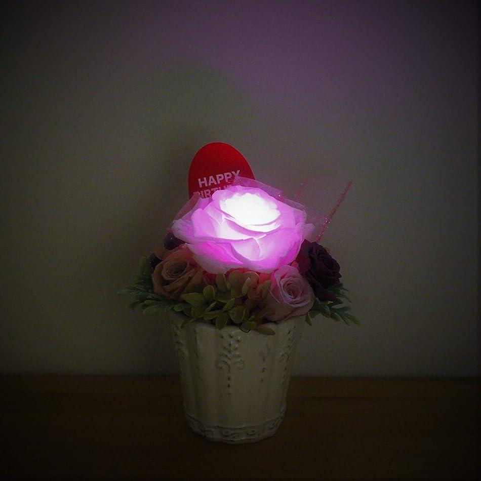 割り込みコメント夜明けHappy Birthday 光る花 お誕生日 ギフト プリザードフラワー クリアケース入り