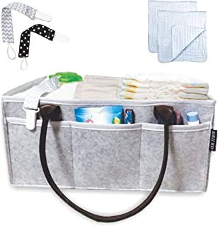 Baby Diaper Caddy Organizer, Baby Shower Gift Basket for Girls Boys - Nursery Storage Tote, Baby Registry Must Haves   Extra Long Handles - White Hearts, Large 14x10x7 Inches