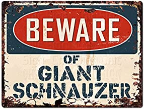 "Beware of Giant Schnauzer Chic Sign Vintage Retro Rustic 9""x 12"" Metal Plate Store Home Decor Gift"
