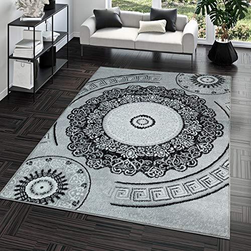 TT Home Kurzflor Teppich Preiswert Pflegeleicht Mäander Muster Orient Optik Grau Schwarz, Größe:60x100 cm