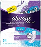 Always Discreet Moderate Long Incontinence Pads, Up to 100% Leak-Free Protection, 54 Count (Packaging May Vary)