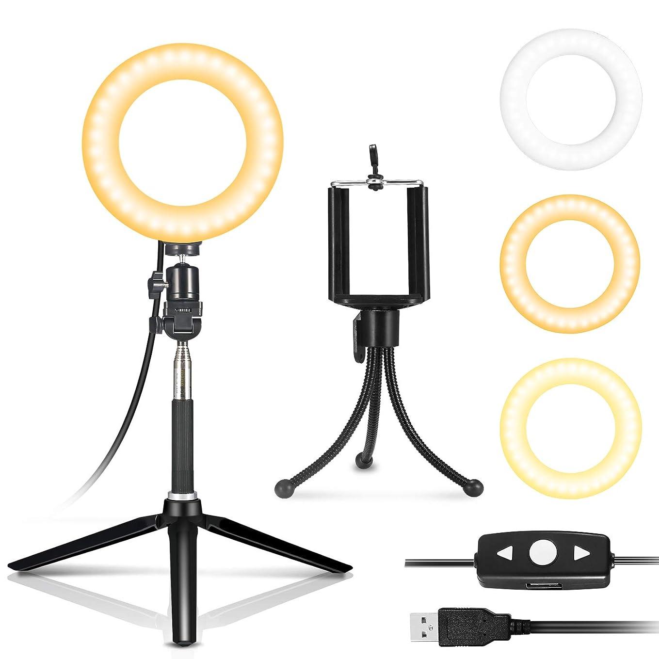 船員流出三角形IDESION 自撮り補助セルフィー LEDライト ミラー 女優ライト 6インチ円形 3色調節可能 リモコン付き ハリウッドライト USB給電 日本語説明書付き