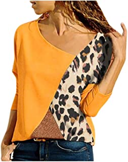 Howely Women Long Sleeve Leopard Print Patchwork Round Neck Tops Tops