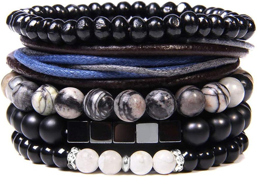 CASDAN Super popular specialty store 4-5 Pcs Leather Woven sold out Braided Wrap Bracelet Women for Men