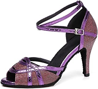Women's Peep Toe Low Heel Flared High Heel Latin Dance Shoes Wedding Sandals (Color : Purple, Size : 2.5 UK)