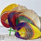 HXYKYY Colored Hand Made Fan Rattan Decor, Hand Fans Bulk Wedding Favors for Guests, Paddle Fans Handheld Bamboo Fan Raffia Woven Fan 5 PCS
