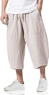 Sponsored Ad - TACVASEN Men's Cotton Linen Capri Pants Casual Loose Fit Shorts Drawstring Lightweight Summer Pants Wide Le...