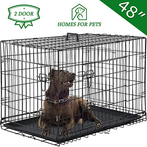 """Vnewone Large Dog Crate Dog Cage Medium Dog Kennel Animal Pet Crate Pet Cage Metal Wire Double Door Folding Fully Equipped Outdoor Indoor with Plastic Tray and Handle (48"""") Basic Crates"""