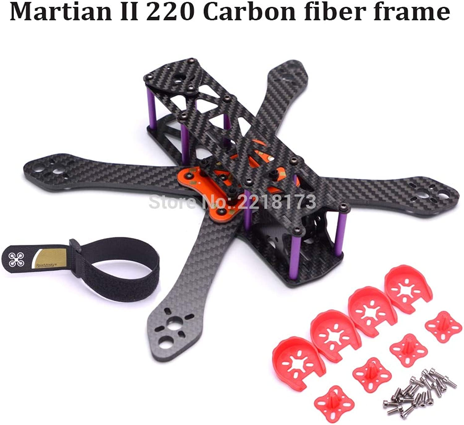 Laliva Martian II 220 220mm 250 250mm 295mm 335mm Carbon Fiber Frame Kit with 4mm Arm + Distribution Board for FPV Racing Drone  (color  Martian II 220mm)