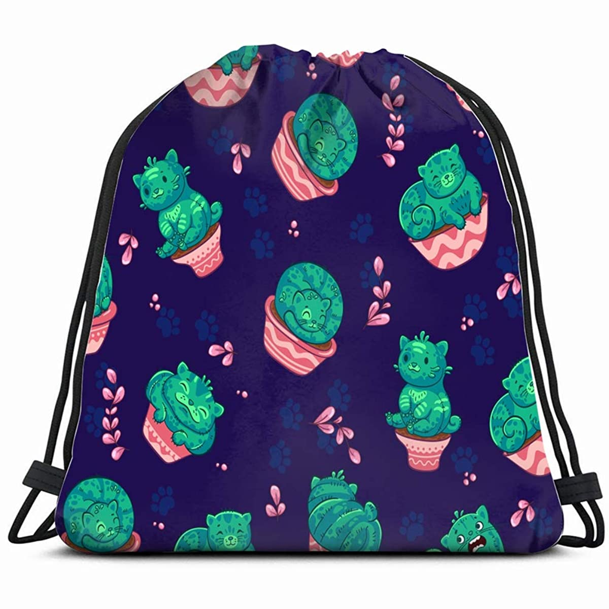 seamless pattern cats cactus flowerpot cartoon animals wildlife backgrounds textures Drawstring Backpack Gym Spacious Pull String Backpack Multifunctional storage bag 14.2 x 16.9 inch