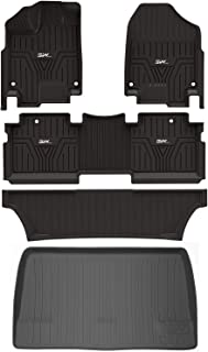 3W Floor Mats for Honda Odyssey 2018 2019 2020-3 Rows+ 1pc Cargo Liner Seating Full Sets All Weather Protection Custom Fit Car Carpet Floor Liners Odorless Heavy Duty TPE, Black