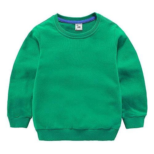 a4e58f81f HAXICO Unisex Kids Solid Cotton Pullover Sweatshirt Toddler Baby Boys  Crewneck Long Sleeve Sweatshirt Tops Blouse