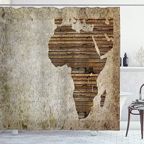 ABAKUHAUS Africano Cortina de Baño, Tablón de Madera Mapa, Material Resistente al Agua Durable Estampa Digital, 175 x 200 cm, Tan Umber y Brown