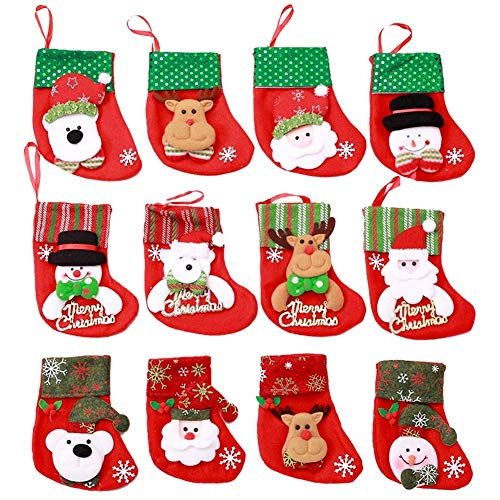 Mini calcetines navideños,12 piezas Copo de nieve Bolsa de dulces Bolsa Cuchillo Cuchara Tenedor Bolsa Vajilla Titulares Decoración,6.3x3.5 Inhces Bolsas de regalo para adornos Adornos de mesa