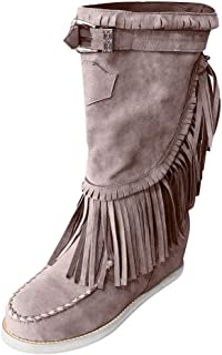 Women's Flat Bottom Midi Calf Boots Ethnic Fringe Closed Toe Boot Warm Combat Style Fall Outdoor Western Shoes
