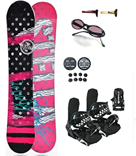 144cm Stella Beauty Women's Snowboard & Symbolic Bindings & Sunglasses & Burton Decal Package