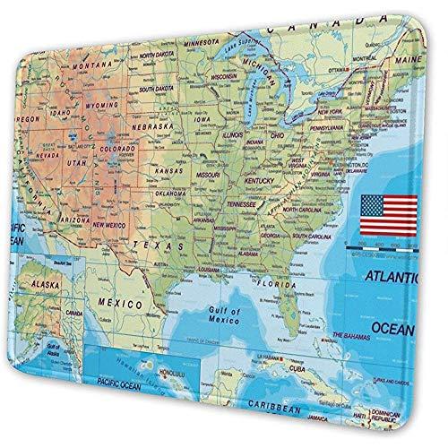 Kaart van de Verenigde Staten muis mat pad muismat computer toetsenbord genaaide randen 10 x 12 inch