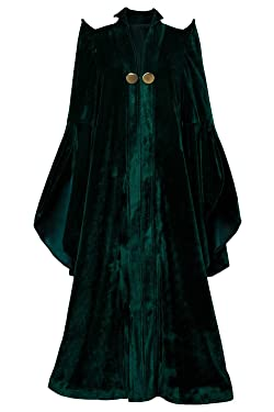COSMOVIE Women's Witch Halloween Cosplay Costume Wizard Sorceress Cloak Robe Coat