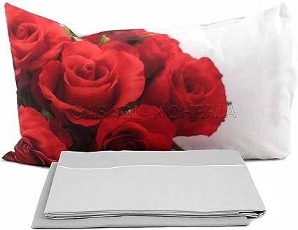 Imberti Completo Lenzuola Rose Rosse A Stampa Digitale Solo Su Federe Matrimoniale Amazon It Casa E Cucina