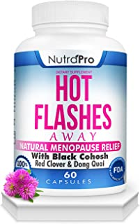 Hot Flashes Menopause Relief -All Natural Menopause Supplement with Black Cohosh for Hot Flashes,Night Sweats,Mood Swings & Anxiety Relief.60 Caps.