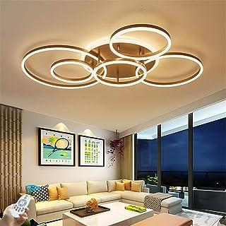 Plafonnier LED 86W Moderne Dimmable 6 Anneaux Lampe De Plafond Métal Acrylique Rond Lustre Salle De Séjour Cuisine Chambre...