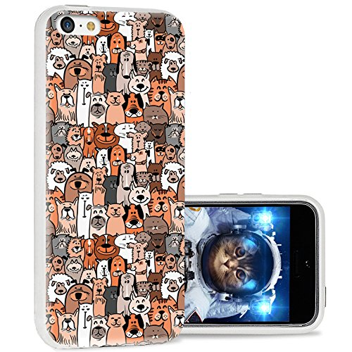 iPhone 5c case Cool, iPhone 5c case Cute,iPhone5c case Girls, ChiChiC Full Protective Stylish Case Slim Durable Soft TPU Cases Cover for iPhone 5c,Cute Cartoon Animal Doodle Brown Dogs Cats Smile pet
