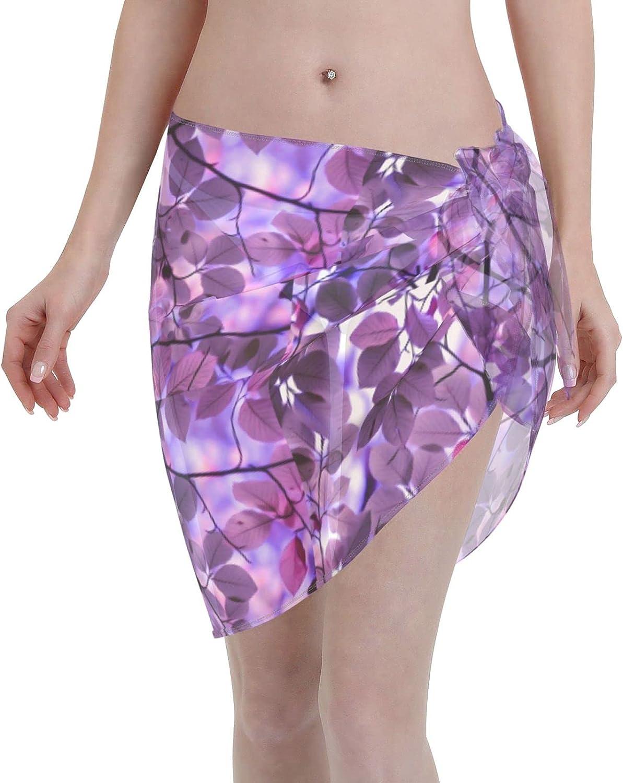 Purple Leaf Women Short Sarongs Beach Wrap Sheer Bikini Wraps Chiffon Cover Ups for Swimwear