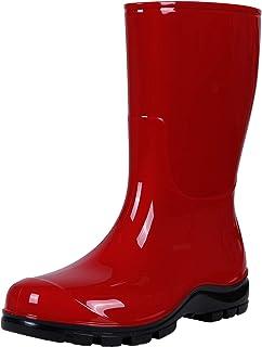 Asgard Women's Mid-Calf Rain Boots Short Waterproof Garden Shoes, Red 37