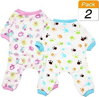 Scheppend Puppy Dog Pijamas Cozy Soft Jumpsuits Traje de Dormir para Mascotas Ropa para pequeños, medianos, Paquete de 2