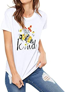 SADUORHAPPY Vintage Kind Bee T Shirt Women Short Sleeve Retro Graphic Letter Printed Casual Tshirt Tees