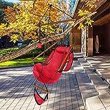 Silla de hamaca de gran tamaño, color rojo con cuerda para colgar, máximo 100 kg, diseño de perforación de palo de madera de calidad con soporte de copa y mochila de tela Oxford
