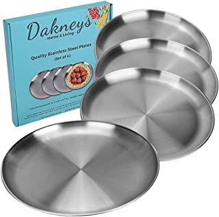 Stainless Steel Plates, Set of 4, 10-inch, Metal Plate Size Option for Eating Dinner, Camping, and Kids,18/8 (304), Matte-...
