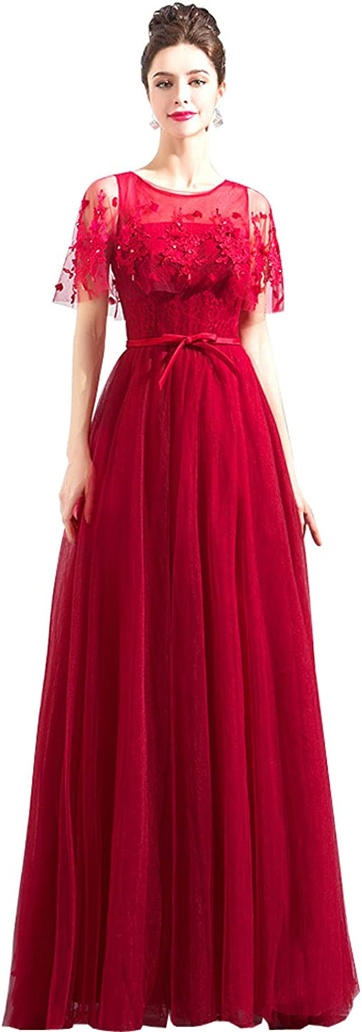 Epinkbridal Women's Applique Evening Dress with Shawl Beaded Tulle Keyhole Back Long Prom Gowns