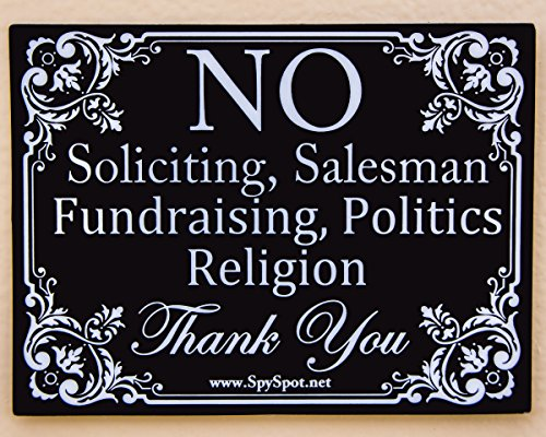 2 Pack - Polite No Soliciting - Vinyl Decal Sign Self Adhesive Heavy Duty Stickers 4' x 3' | Weatherproof UV Resistant | Stylish Design for Home Business Door Window Gate by Spy Spot