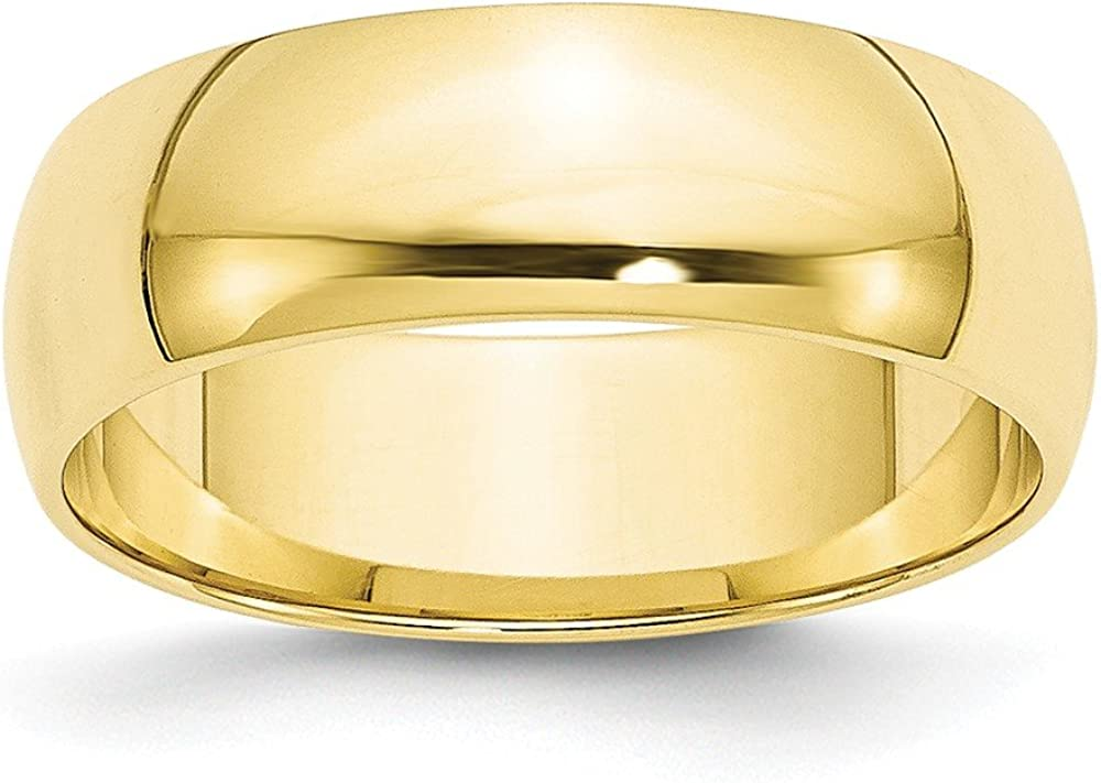 10k Yellow Gold 6mm Half Round Wedding Ring Band Size 11.5 Classic Fine Jewelry For Women Gifts For Her