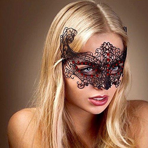 Rot kristall/Sexy Schwarz Spitze Maske Lady Mädchen Frauen Maske Concert Halloween Geburtstag Party Xmas Weihnachten Disguise Scary Kostüm Rollenspiel Handeln Fancy Kleid Dance Ball Ball Kleid Hohe Qualität Gif