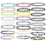 24 PCS Choker Collane, Gomma Tattoo Arcobaleno Choker Gothic Henna Stretch Elastico Colourful Chokers Set per donne Ragazze Teen 90s