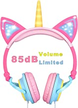 VERORAS Unicorn Kids Headphones, Glowing Unicorn Cat Ear LED Headphones for Children On/Over Ear, Wired Adjustable Foldable Headset, 85dB Volume Limited,Perfect for Kids Gift