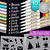 Profi Metallic Stifte Set für Fotoalbum, Scrapbook, Glatte Oberflächen | 10 Metalic Marker Pens | Tritart
