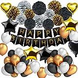 DAYPICKER 63 Pcs Decoración Fiesta Cumpleaños Negro Oro, Juego de Fiesta Que Incluye Feliz Cumpleaños Estandarte Estrella Corazón Globo Papel Poms Dorado Negro Perlado Globos