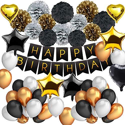 DAYPICKER SchwarzundGoldBallonPartyDekorationen, Party Set Inklusive Happy Birthday Banner Stern Herz Ballon Papier Poms Gold Schwarz Perlen Ballons für 20. 30. 40. 50. 60. 70.
