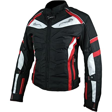 Heyberry Damen Motorrad Jacke Motorradjacke Textil Schwarz Rot Gr L 40 Auto