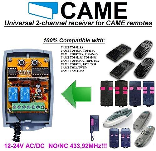 CAME kompatibel Empfänger Portal. Universal 2-canaux Empfänger für Came Top, Twin, Tam Fernbedienungen. 12–24V AC/DC, no/NC 433,92MHz Rolling/Fixed Code
