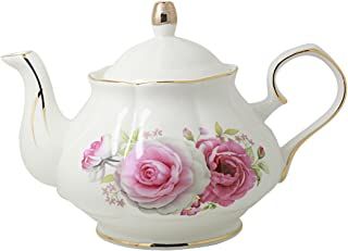 Jomop Pottery Teapot Cool Gift For Tea Lovers Handmade Ceramic Teapot (Rose)