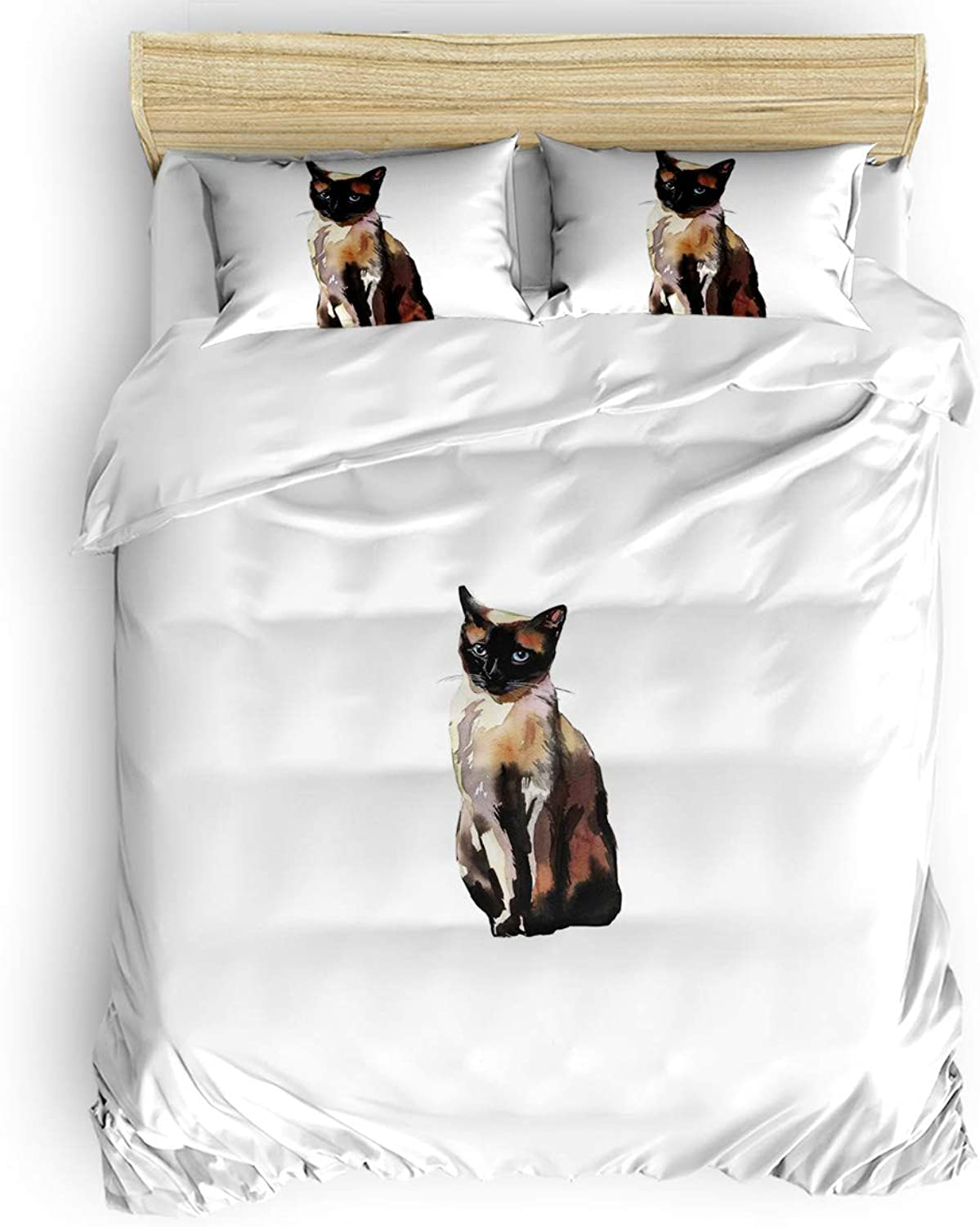 Twin Size, 4 Pieces Bed Sheets Set, Cartoon Style Print Cute Domestic Cats Pets in Watercolors 3D Print Floral Duvet Cover Set
