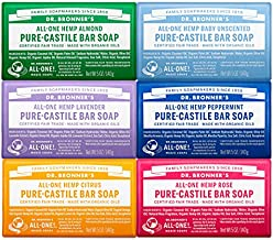 Dr. Bronner's - Pure-Castile Bar Soap (5 Ounce Variety Gift Pack) Almond, Unscented, Lavender, Peppermint, Citrus, Rose - Made with Organic Oils, For Face, Body and Hair, Gentle and Moisturizing
